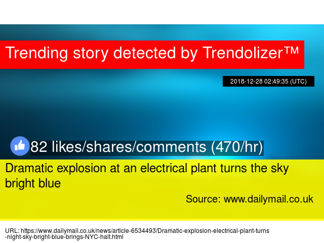 Dramatic Explosion At An Electrical Plant Turns The Sky Bright Blue