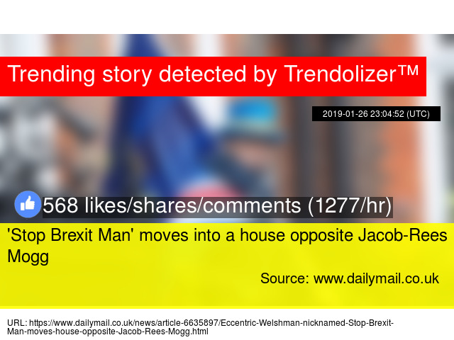 Stop Brexit Man' moves into a house opposite Jacob-Rees Mogg