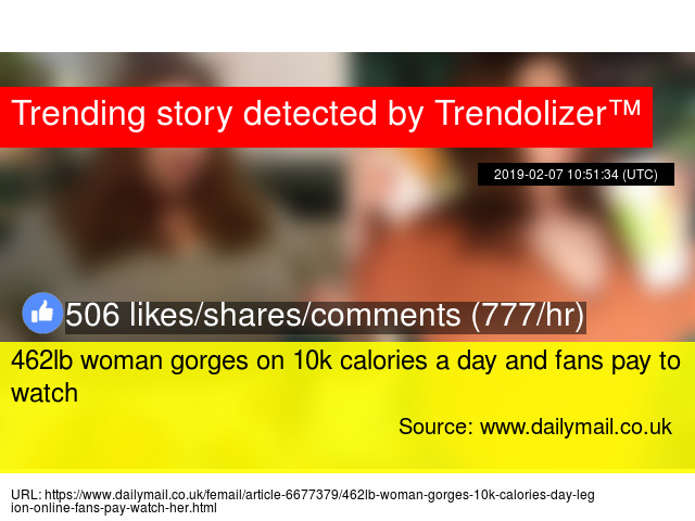 462lb woman gorges on 10k calories a day and fans pay to watch