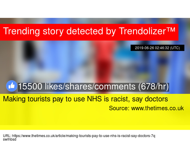 Making tourists pay to use NHS is racist, say doctors