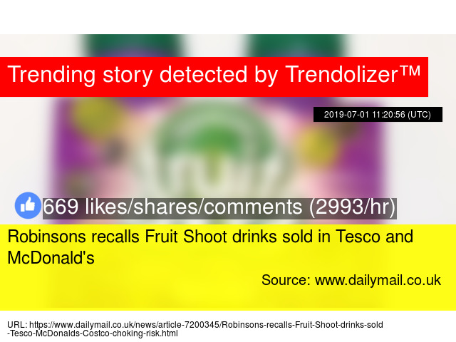 Robinsons recalls Fruit Shoot drinks sold in Tesco and