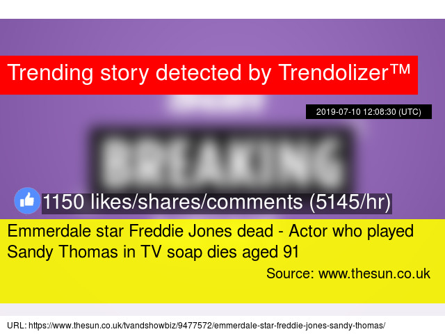 Emmerdale star Freddie Jones dead - Actor who played Sandy Thomas in