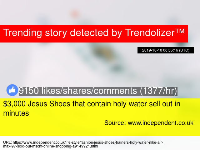 Jesus Shoes containing holy water selling for £3,000 | The