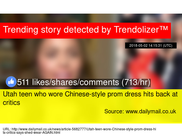 Utah Teen Who Wore Chinese Style Prom Dress Hits Back At Critics