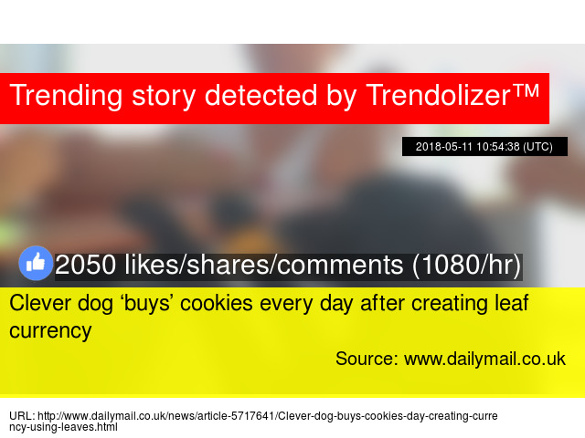 dog buys cookies with leaf